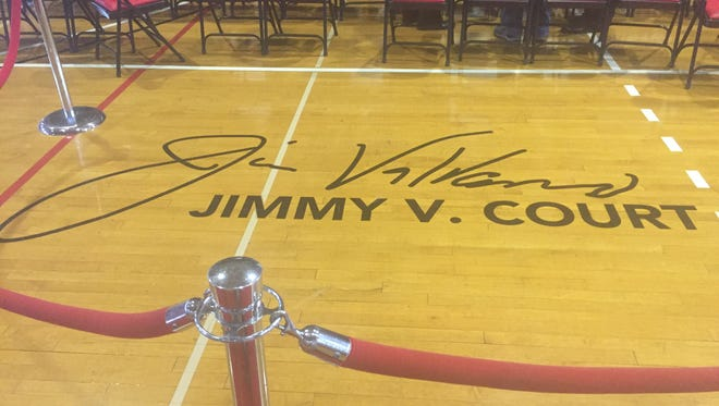 The new Jimmy V. Court logo at Rutgers' College Avenue gym