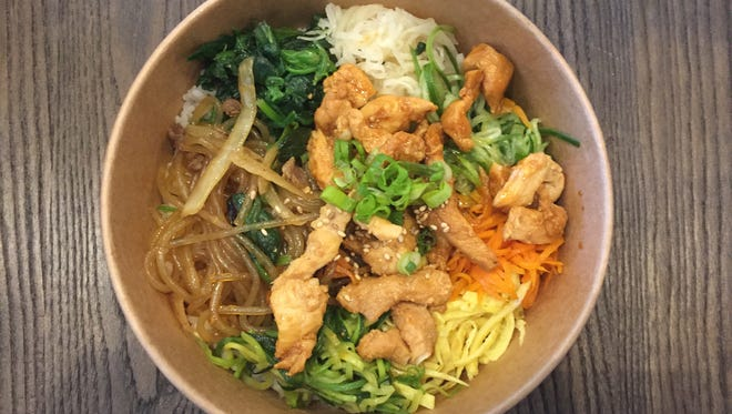 A chicken bibim-bab bowl from the new Bab Café, a Korean restaurant opening  May 1, 2017, on the ground floor of the 3rd Street Flats building in downtown Reno.