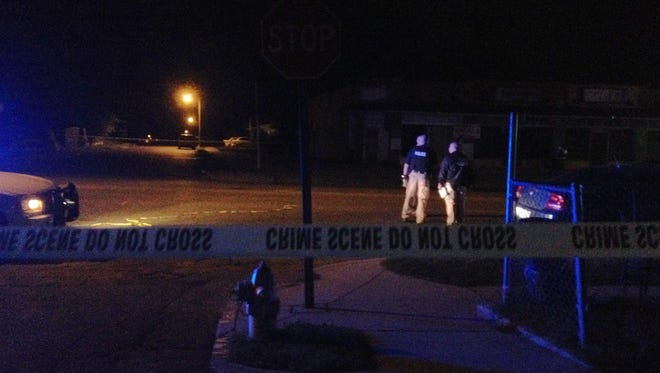 Memphis police work the scene of a double shooting near Avalon and Vollintine on Monday evening. One person is dead and a second person is in critical condition, police said.