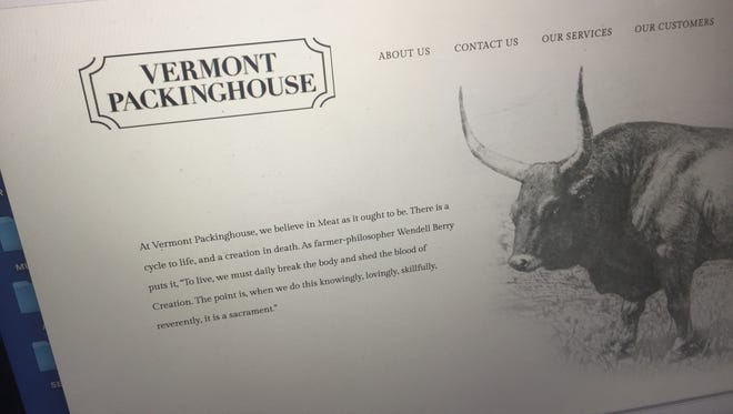 Vermont Packinghouse in North Springfield is being penalized by the state Agency of Agriculture for violating humane slaughter laws. Shown here is the company's website.