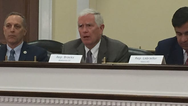 Rep. Mo Brooks, R-Ala., joined other conservative members of Congress at a press conference Wednesday. He said later  he's discussing with his family whether to run for the Alabama Senate seat.