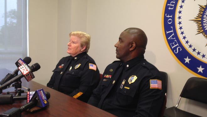Memphis Police Col. Gloria Bullock and Lt. Col. Keith Watson brief the news media on security precautions for Memphis in May festivities.