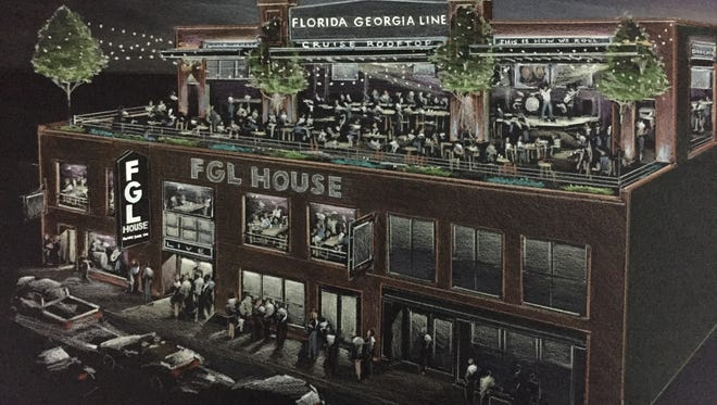 "FGL House. Country duo Florida Georgia Line opened in June its four-story restaurant and bar, FGL House, right off Lower Broadway. FGL House features live music daily and what's billed as the largest ""Cruise"" rooftop with views of downtown's skyline. The kitchen offers Southern style cuisine with a California flair. Bars on each of the four floors serve local craft beers and mixed cocktails — many featuring the duo's own Old Camp Whiskey."