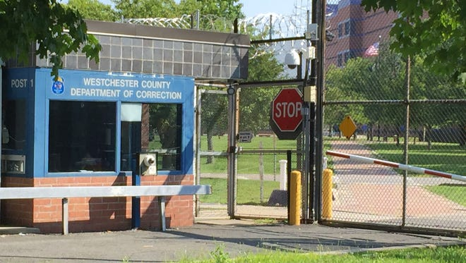 The entrance of the Westchester County Jail in Valhalla. Officials said a corrections officer at the facility suffered a broken ankle in a fight with an inmate Tuesday.