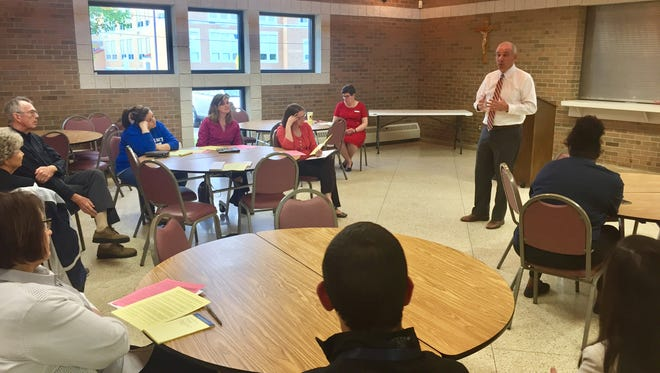 State Senator Matt Huffman speaks to a small group at St. Peter's about Senate Bill 85, which would significantly expand public school vouchers.
