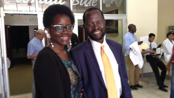 Dorothy Nyong'o,left and her husband, Kenyan Sen. Peter Nyong'o, at FAMU's College of Pharmacy and Pharmaceutical Sciences on May 15, 2017.