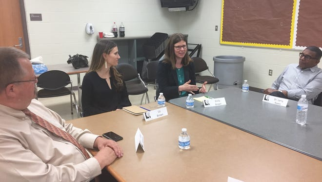 Emily and Liz Brown, daughters of Sen, Sherrod Brown, visited their dad's hometown of Mansfield Thursday for a roundtable discussion about obstacles first-generation college students face.