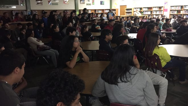 Eighth-graders at Cunningham Middle School gathered in the library to talk with Nautilus crew members through video chat on Monday May 22, 2017.