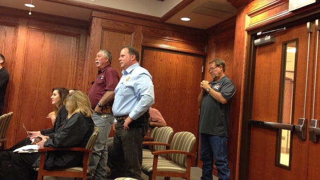 Wichita County Sheriff David Duke talks with Wichita County Commissioners Monday. Duke and Commissioner Lee Harvey got into a heated debate on concrete versus asphalt for the new gun range.