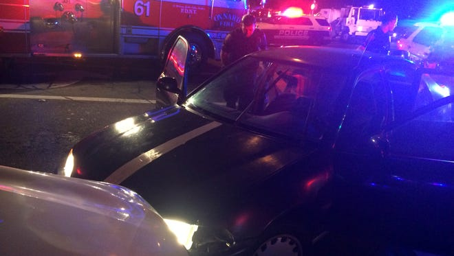 This was the scene Tuesday night in Oxnard after a four-minute pursuit of a vehicle that had been reported stolen. The vehicle crashed at Ventura Road and Fifth Street, and its three occupants were arrested, police said.