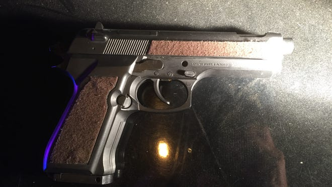 Ventura police on Tuesday arrested a juvenile in connection with pointing a fake gun at a person in Ventura. The replica gun that was recovered from the scene is shown in the photo.