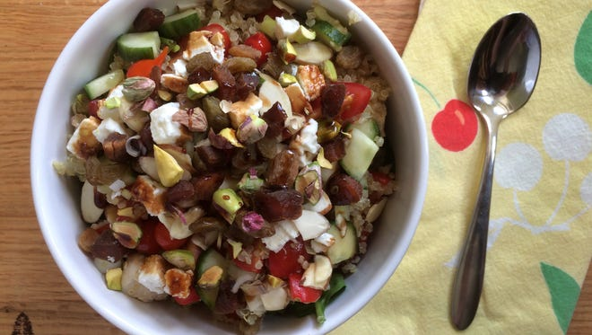 Chicken, Veggie, Quinoa Bowl with Pomegranate Molasses is a nutritious melange of flavors and textures.