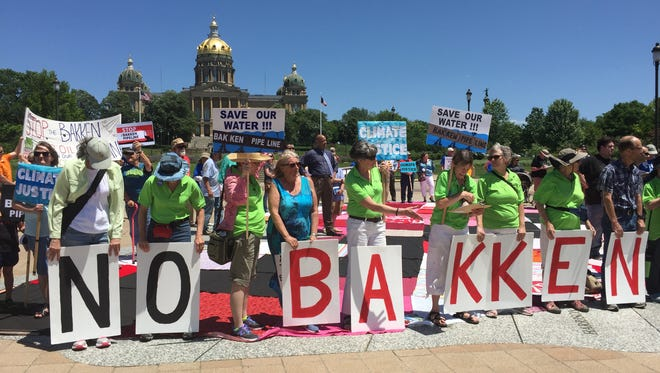 A protest was held against the Dakota Access Pipeline at the Iowa Capitol in June 2016.