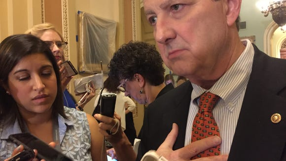 Sen. John Kennedy, R-La., talks to reporters Tuesday.