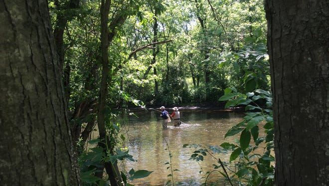 Fly fishers comprised of veterans and volunteers on the Musconetcong River on Saturday.