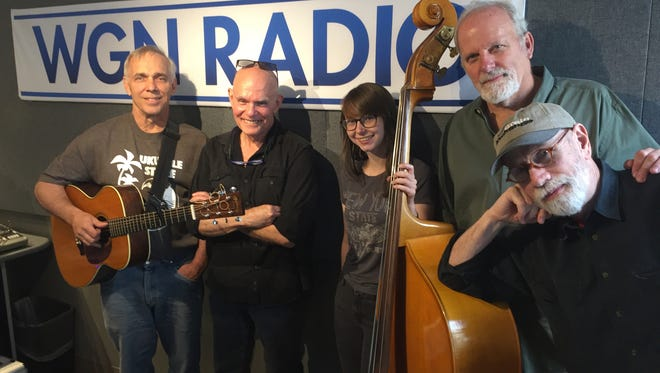 From left, Springfield musicians Nick Sibley, Ruell Chappell, Abbey Waterworth; Chicago journalist Dave Hoekstra and Springfield musician D. Clint Thompson in Chicago in May 2017. Hoekstra is making a documentary film about Springfield music and invited select artists to perform and go on radio in the Windy City.