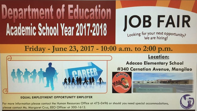 A flyer for the 2017 job fair provided by the Guam Department of Education.