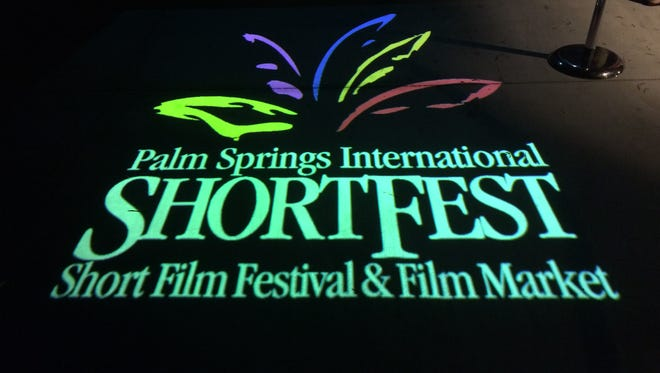The ShortFest logo projected at the entrance of a party in 2016.
