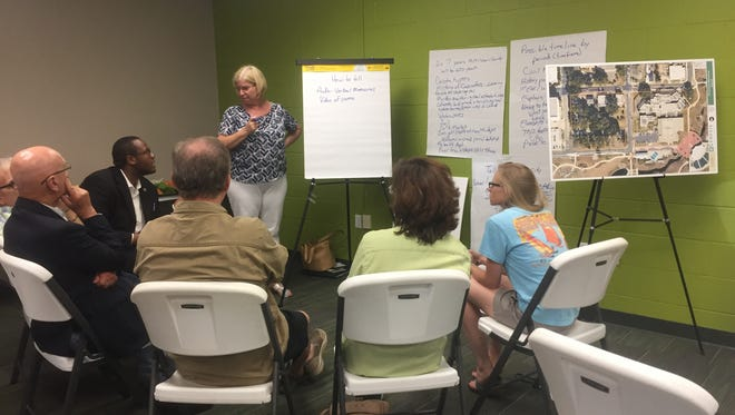 Community members discussed ideas for what should be included in a historical plaza and how at a meeting Thursday.