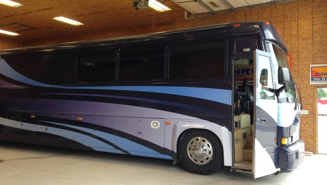 The Richmond softball team will arrive at the Division 2 state finals in this luxurious bus.