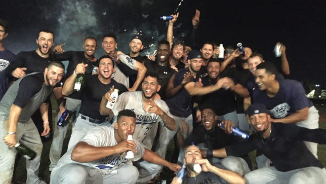 The Pensacola Blue Wahoos celebrate a fourth consecutive division title after their 9-3 win over Jacksonville on June 16, 2017.