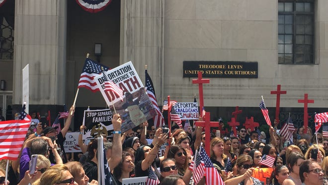 Hundreds of Iraqi-American Christians rally on June 21, 2017, outside the U.S. District Courthouse in Detroit during a court hearing for the 114 Iraqi immigrants arrested by ICE in June in metro Detroit.