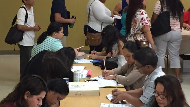 A good turnout at the 2017 job fair hosted by the Guam Department of Education at Adacao Elementary School, to help fill more than 300 vacant teaching jobs in various public schools.