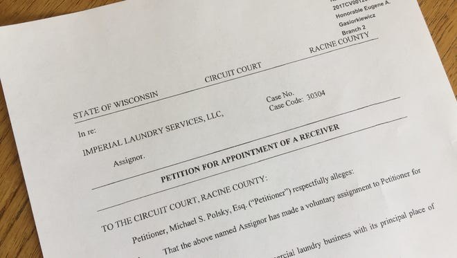 Imperial Laundry Services, a 121-employee business in Racine, has filed for receivership.