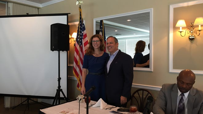 Leon County Commissioner Kristin Dozier and City Commissioner Scott Maddox at a June 27, 2017 business luncheon at Capital City Country Club.
