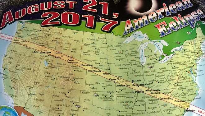 The path where a total eclipse will occur. Other areas, like Memphis, will experience a partial eclipse.