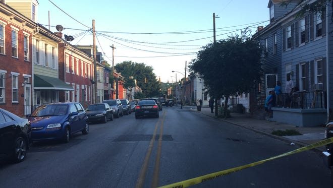 York City Police cordoned off South Penn Street at West College Avenue for a shooting on Saturday night. A boy riding his bicycle was shot in the leg.