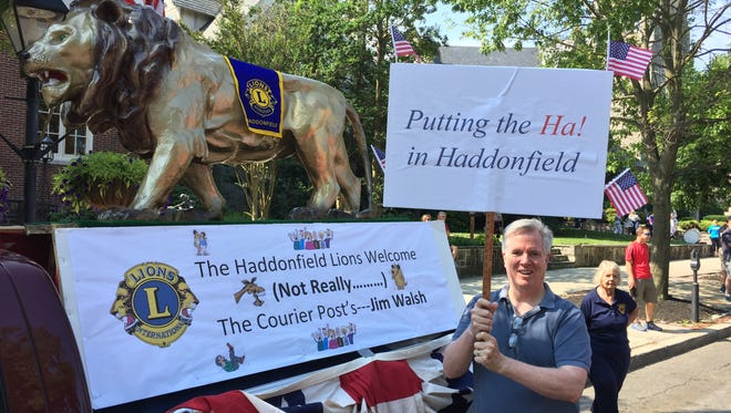 Jim Walsh prepares for the ordeal of walking in Haddonfield's July 4th parade with members of the local Lions Club.