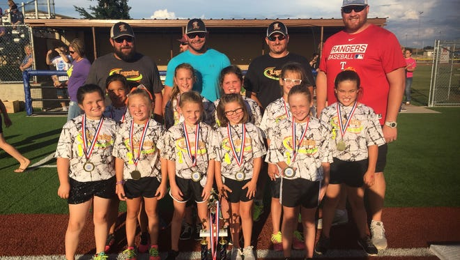 The Legends are the 8 years old and younger division American League first-place winners of the Sunrise Optimist Girls Softball League. Players are Halli Kennedy, Lyla Bodki, Jaycie Medlinger, Landre Swenson, Makiya Ratliff, Madison Walker, Avery Shierry, Carlee Bernard, Taylen Parsons and Micah Coombes. Not pictured is Kaydee Weaver.