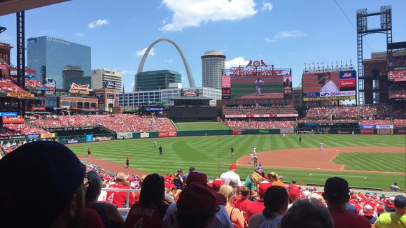 Busch Stadium is a beautiful park is a near perfect setting. This is the view from our seats.