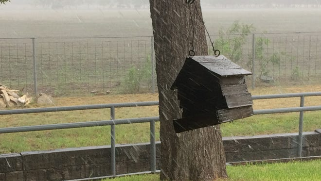 A birdhouse is buffeted by winds as an afternoon storm rolls through Mertzon, in this file photo from 2017. Forecasters are calling for a week of wet weather as an upper-level low approaches the area from Arizona.