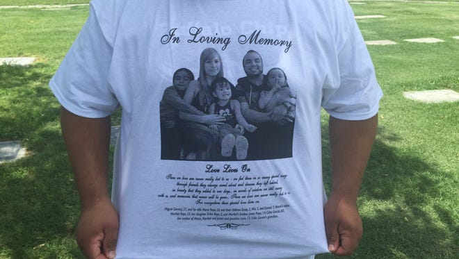 Family and friends wore white T-shirts on July 25, 2017, to remember the family members who died in the Payson-area flash flood.