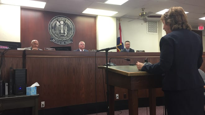Judge Peggy Davis speaks to Greene County Commissioners about the opioid epidemic's effect on the local judicial system.