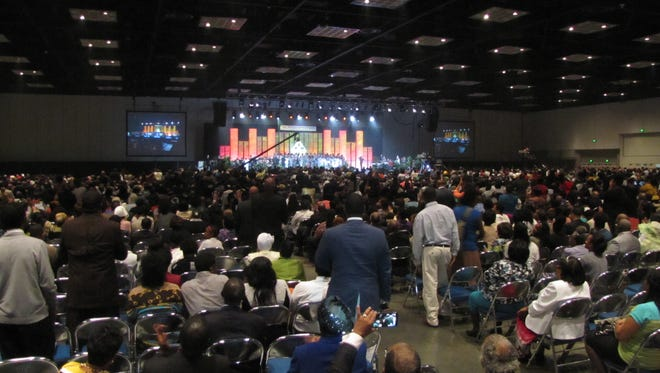 A crowd gathers during a recent Pentecostal Assemblies of the World convention.