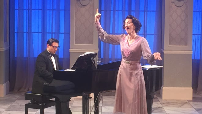 """Jonas Cohen, portraying Cosme McMoon, accompanies Paula Leggett Chase, portraying Florence Foster Jenkins, in New Harmony Theatre's closing show, """"Souvenir."""""""