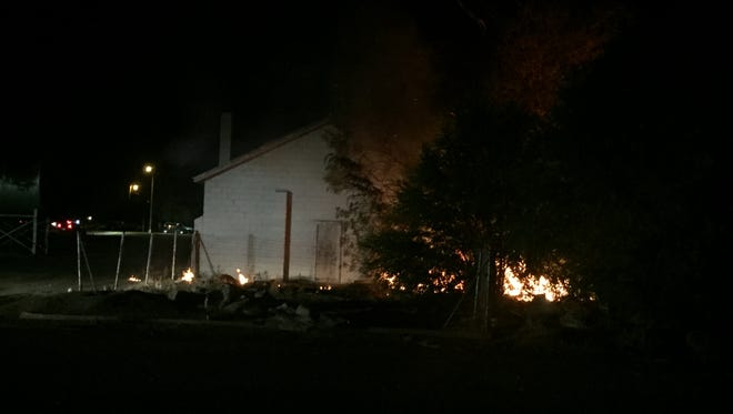 A Thompson School District storage building was set on fire Friday evening, July 28, 2017, in Loveland. The building is located north of Seventh Street, between Railroad and Garfield avenues.