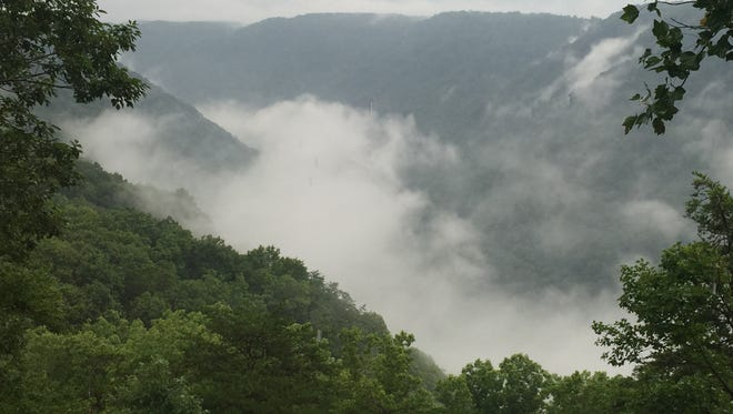 Rain clouds obscured the view of the New River during a recent trip to West Virginia.