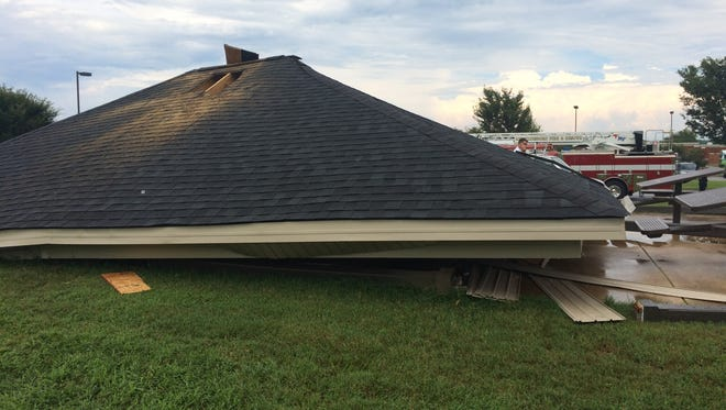 A shelter collapsed Wednesday at John Pittard Elementary School.