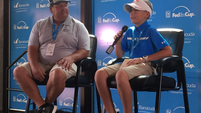 Sam Stagno, right, with his father Tony, is a 12-year old boy diagnosed with a form of non-Hodgkin lymphoma. He got to meet some of the professional golfers competing in the Barracuda Championship on Thursday at Montrêux Golf & Country Club.