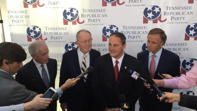 Sen. Bob Corker, far left, and Sen. Lamar Alexander, second from left, spoke at the Tennessee Republican Party fundraiser in Nashville on Thursday, Aug. 3, 2017.