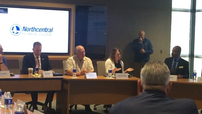 Stakeholders talk about the need for access to quality broadband in rural areas of Wisconsin at a listening session with U.S. Agriculture Secretary Sonny Perdue at Northcentral Technical College on Friday.