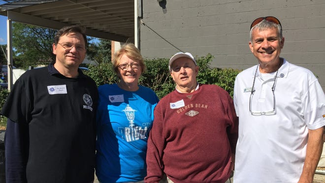 Brighton Mayor Jim Muzzin (left) and former mayorsKate Lawrence, Jere  Michaels and Steve Monet, at the Mayors' Pancake Breakfast on Saturday, Aug. 5, 2017.