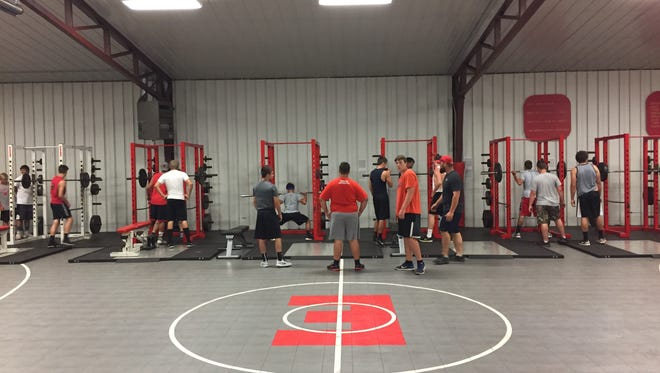 The Elgin football team works out in the weight room for a practice in the 2017 preseason.