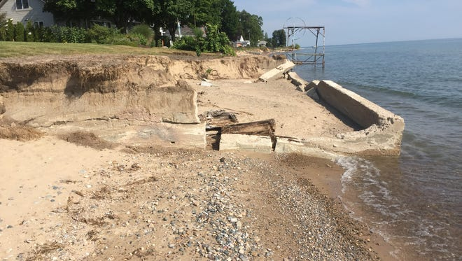 Erosion has uncovered the foundation of the boathouse for the former Lakeview Beach Life-Saving Station.