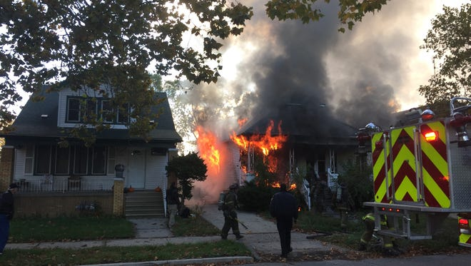 Detroit Fire Department tend to a fire on Detroit's east side on November 4, 2016.