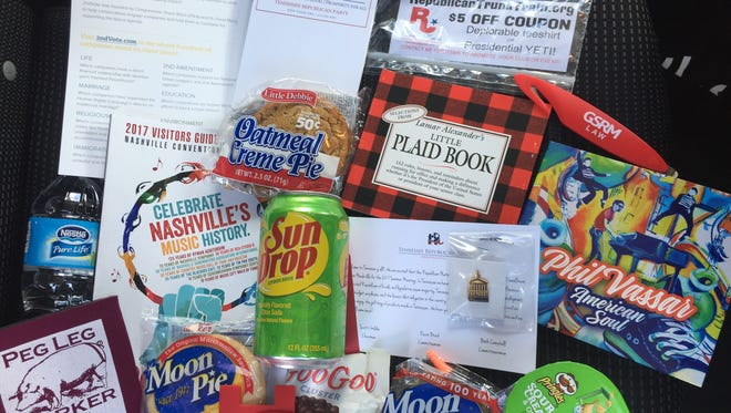 A welcome bag offered to attendees of the 2017 summer gathering of the Republican National Committee.